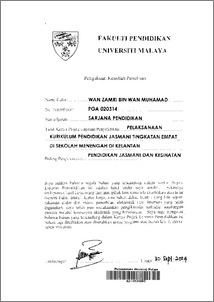 thesis pendidikan jasmani Thesis latihan ilmiah tutorial spss  hubungan penghargaan kendiri dengan tekanan kerja dalam kalangan guru-guru pendidikan islam daerah pasir gudang, johor.